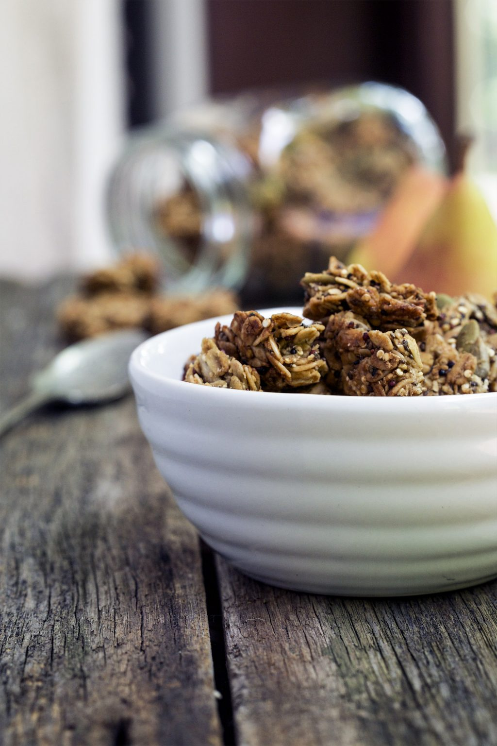 These ginger pear granola bites are sweet, lightly spiced and more than a little addictive. Made with a powerhouse of grains for a healthy snack.