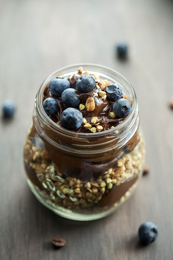 Avocado Mocha Mousse with Blueberries