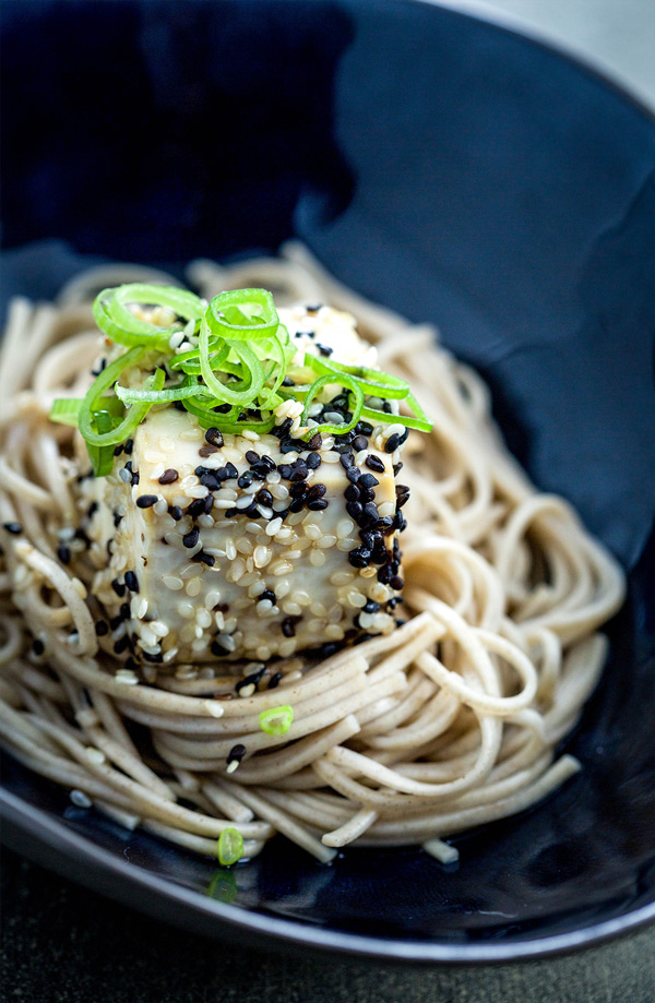 Toasted sesame tofu with soba noodles and a delicate green tea broth; a perfectly balanced, easy to prepare meal in a bowl.