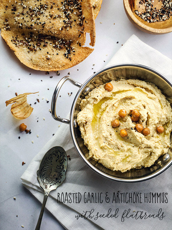 roasted garlic and artichoke hummus
