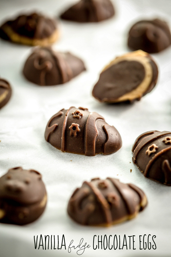 Creamy vanilla vegan fudge encased in silky, rich vegan chocolate. Everyone can enjoy these These Vanilla Fudge Chocolate Eggs guilt-free. Almost.