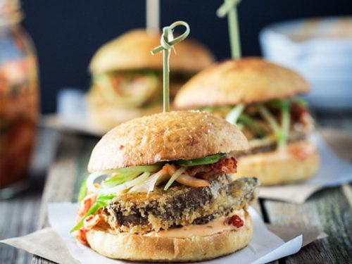 Vegan Mushroom Burgers With Kimchi My Goodness Kitchen