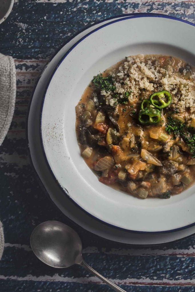 Buttery, spicy and tinged with a taste of the sea, this Creole-style vegetable étouffée is a vegan trip down the bayou complete with a good kick of Essence.