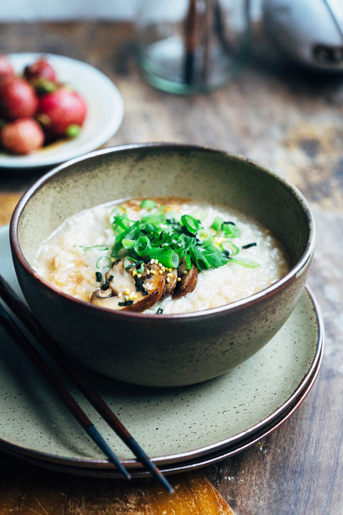 silky mushroom congee with roasted radishes
