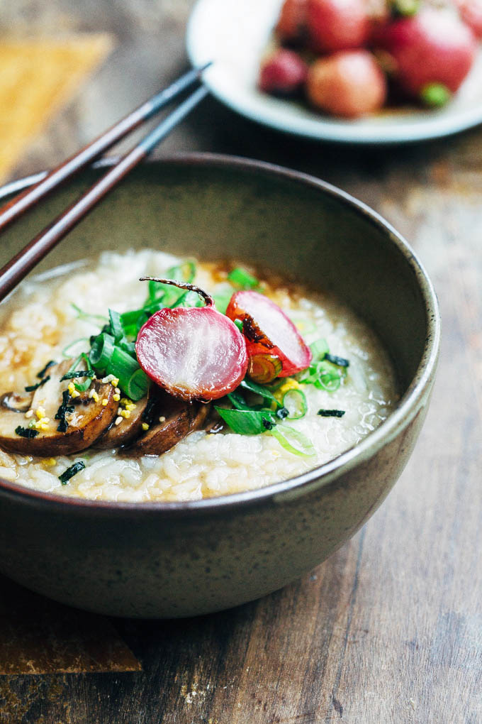 silky mushroom congee with roasted radishes 5