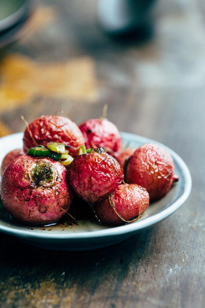silky mushroom congee with roasted radishes 3