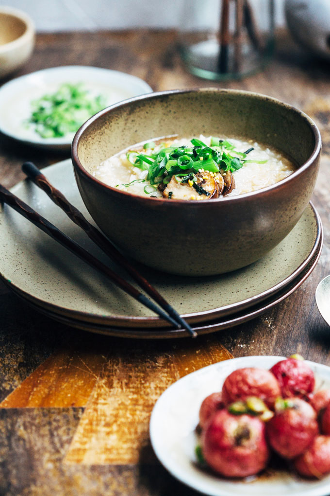 silky mushroom congee with roasted radishes 2