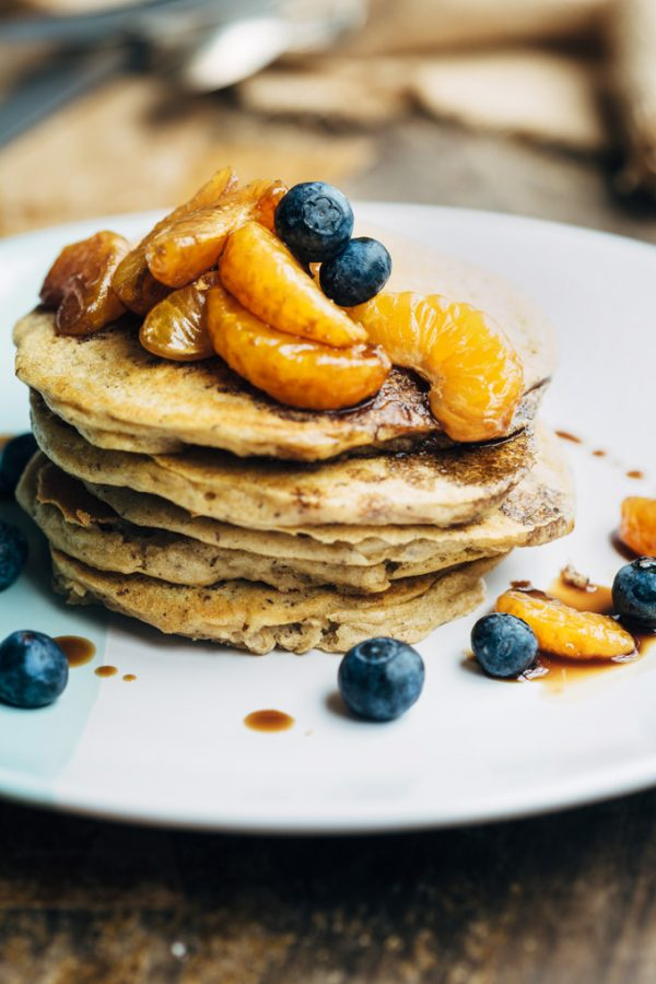 spelt buttermilk pancakes with glazed mandarin 1