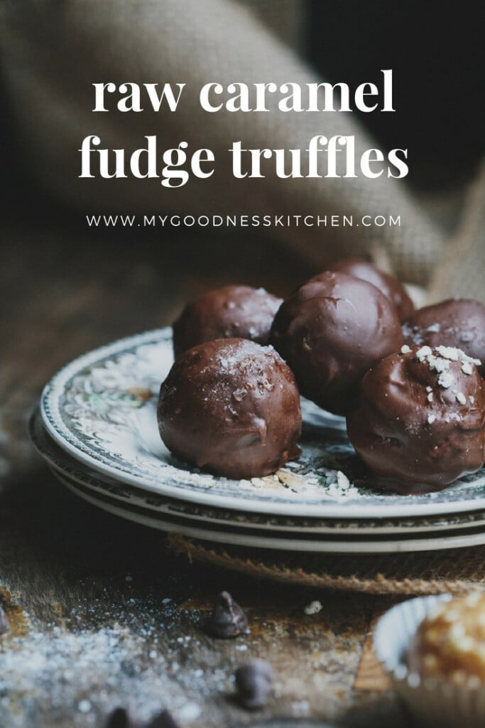Homemade vegan chocolate truffles with text