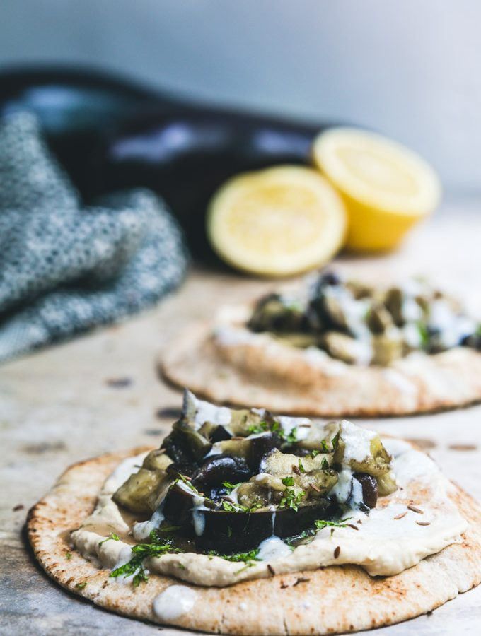 Ready in 10… Spiced Eggplant Brunch Pitas