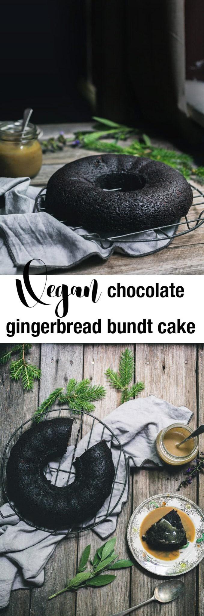 Vegan Chocolate Gingerbread Bundt Cake