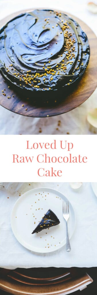 Two different images of raw chocolate cake with text
