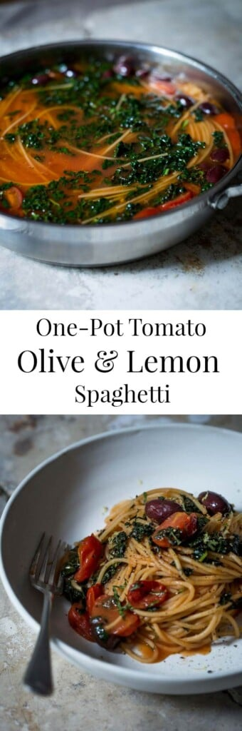 one-pot tomato olive & lemon spaghetti