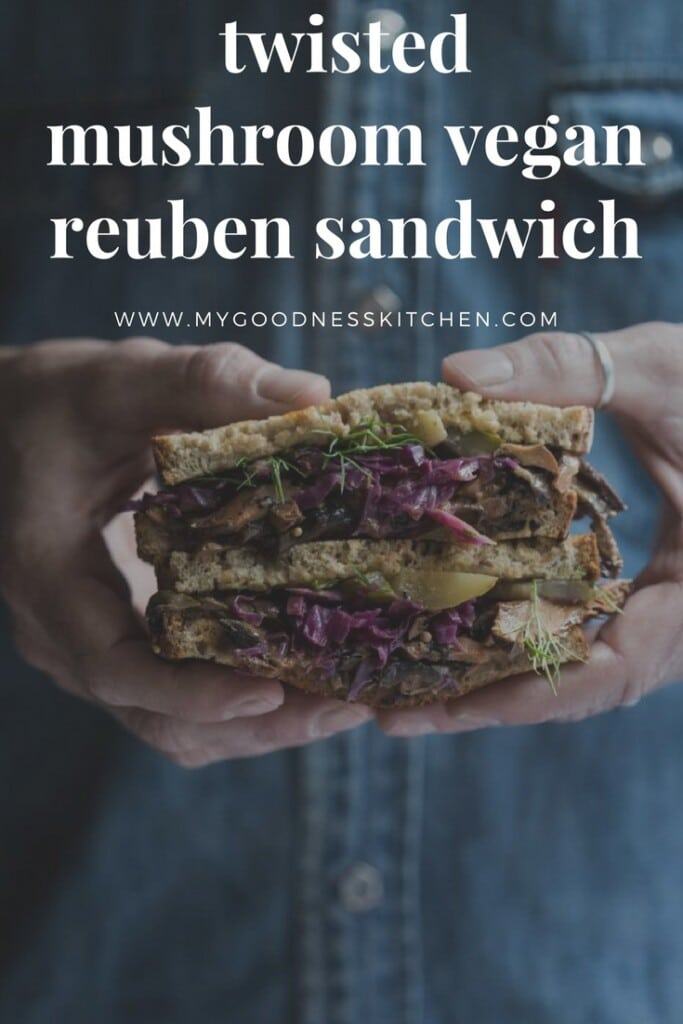 Spiced mushrooms, homemade red cabbage sauerkraut, Russian dressing and pickles pack a flavour punch in the Vegan Mushroom Reuben Sandwich.