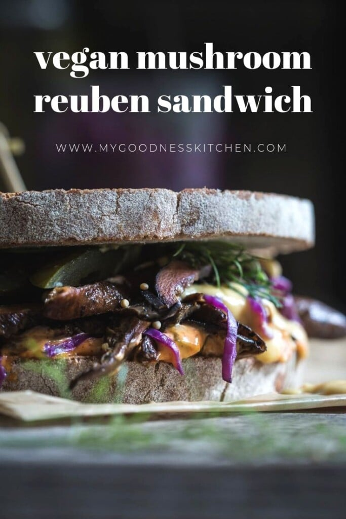 Close up of Reuben sandwich with text
