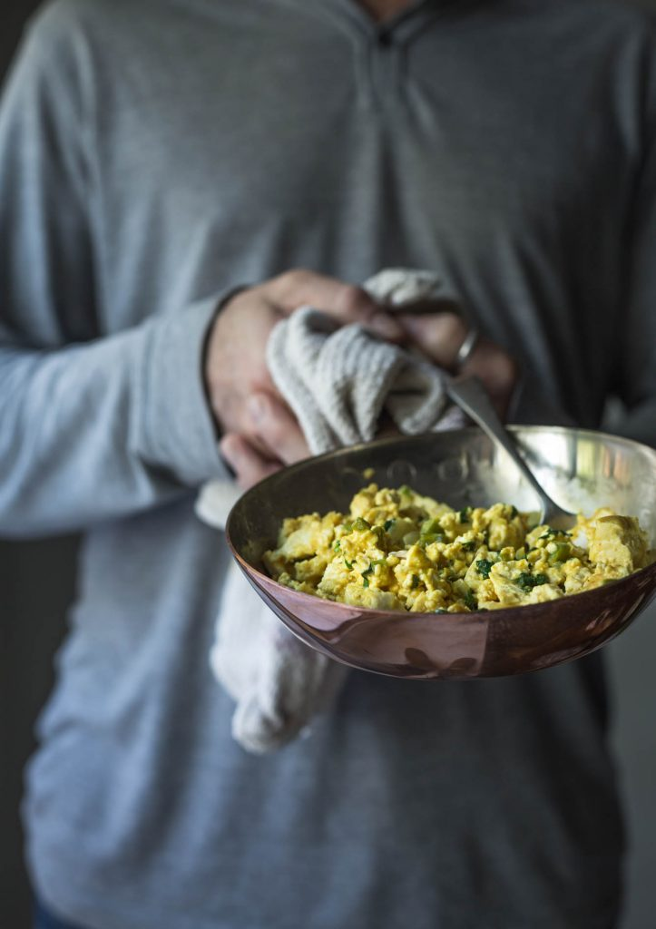 With pan fried tofu, garlic and peppers tossed in a creamy, cheesy vegan sauce this Inspired Scrambled Tofu is the perfect partner to a rainy Sunday morning
