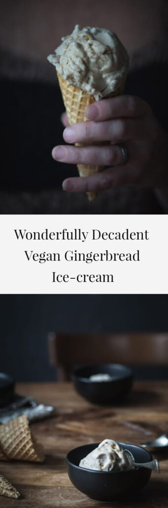 Two images of of gingerbread ice-cream with text.