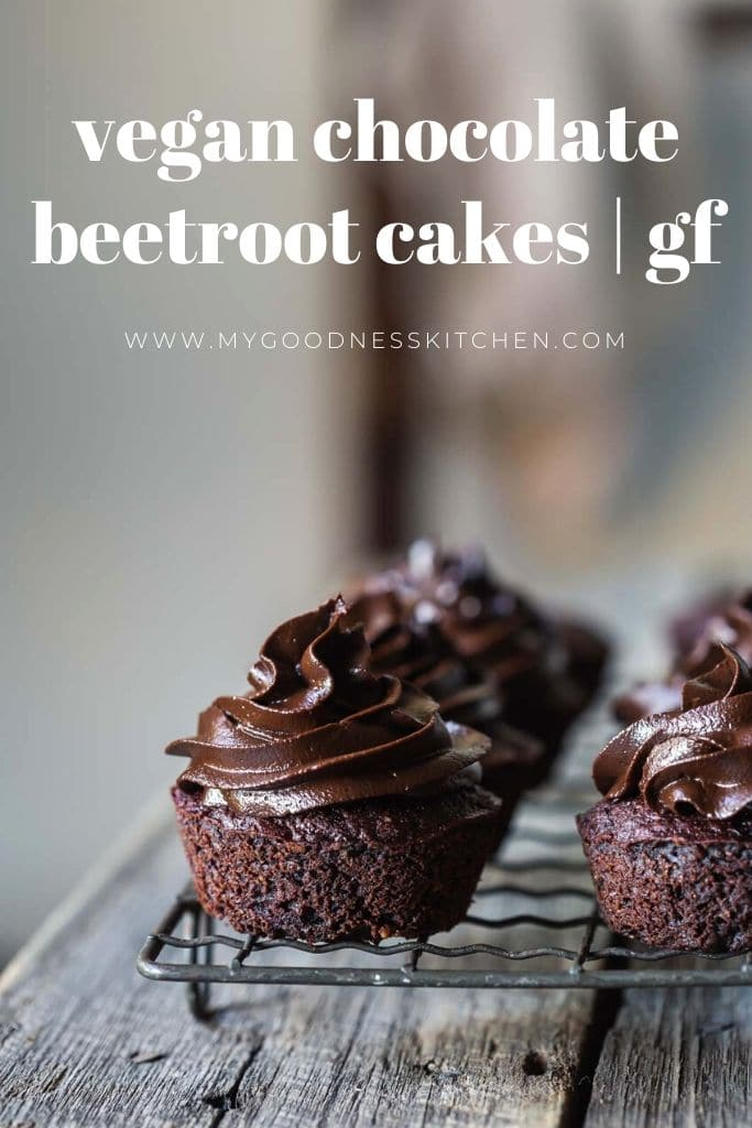 A tray of vegan chocolate beetroot cupcakes