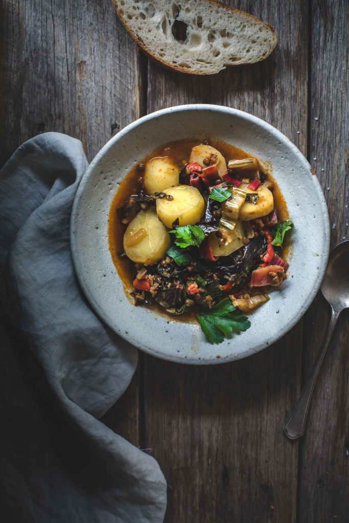 Simple to make, this Swiss Chard and Pimentón Stew with Lentils is a full flavoured bowl; robust and wonderfully Spanish.
