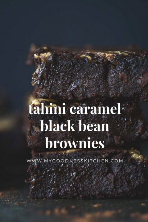 tahini caramel black bean brownies from my goodness kitchen. nut-free. gluten-free. vegan