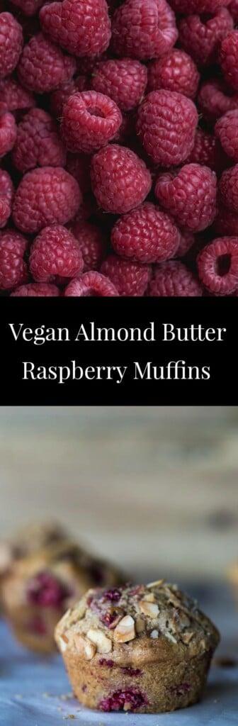 Two images of berry muffins and raspberries with text.