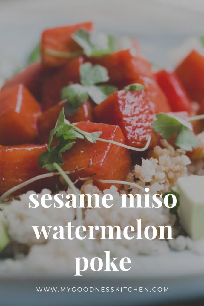 A close up image of a watermelon salad.