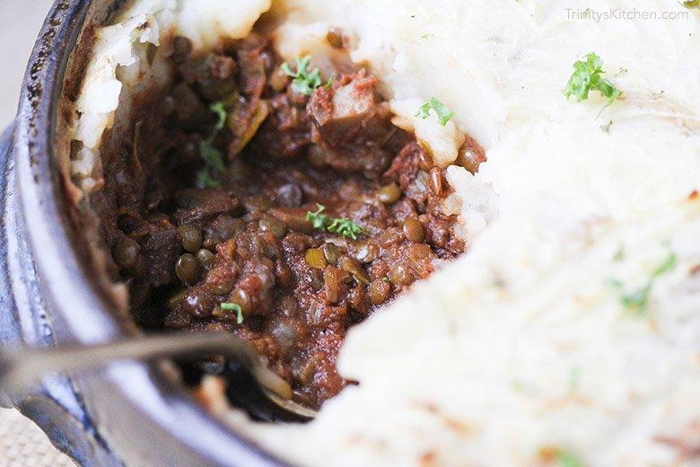 A close-up image of lentil cottage pie