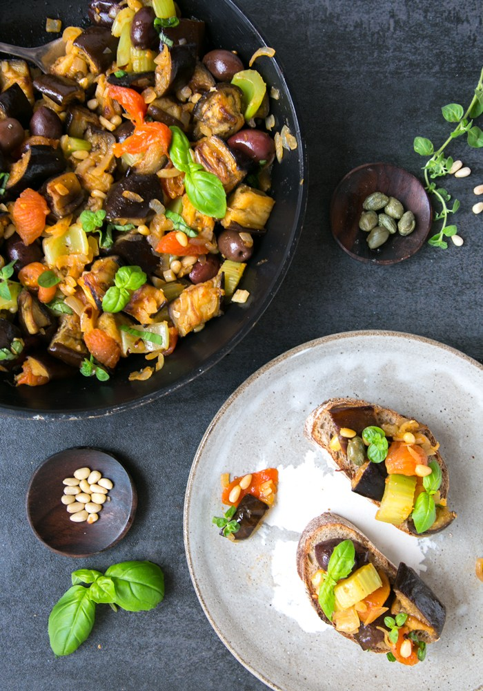 A serving plate and a side plate with Sicilian Aubergine Caponata