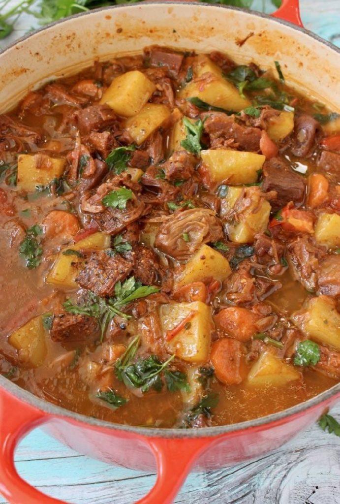 A large pot of vegan potato and jackfruit stew