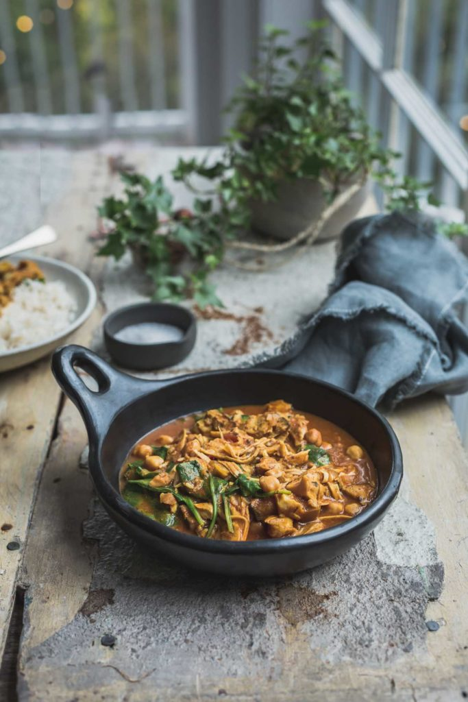 Authentic tikka masala with king oyster mushrooms and chickpeas from My Goodness Kitchen
