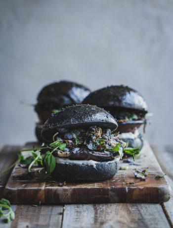 Vegan Portobello Mushroom Burger w Wasabi Sprouts