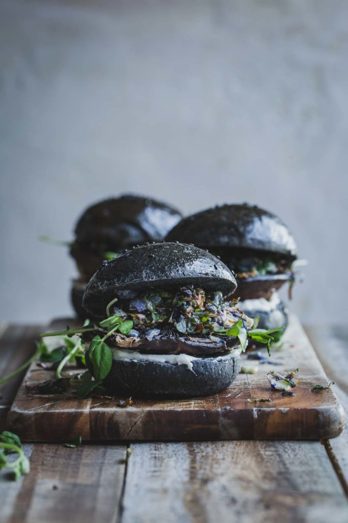 Vegan Portobello Mushroom Burger W Wasabi Sprouts My Goodness Kitchen