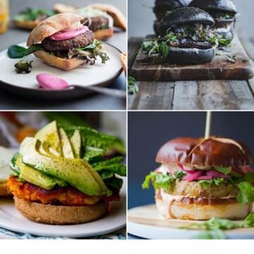 A grid of four different vegan burger images.