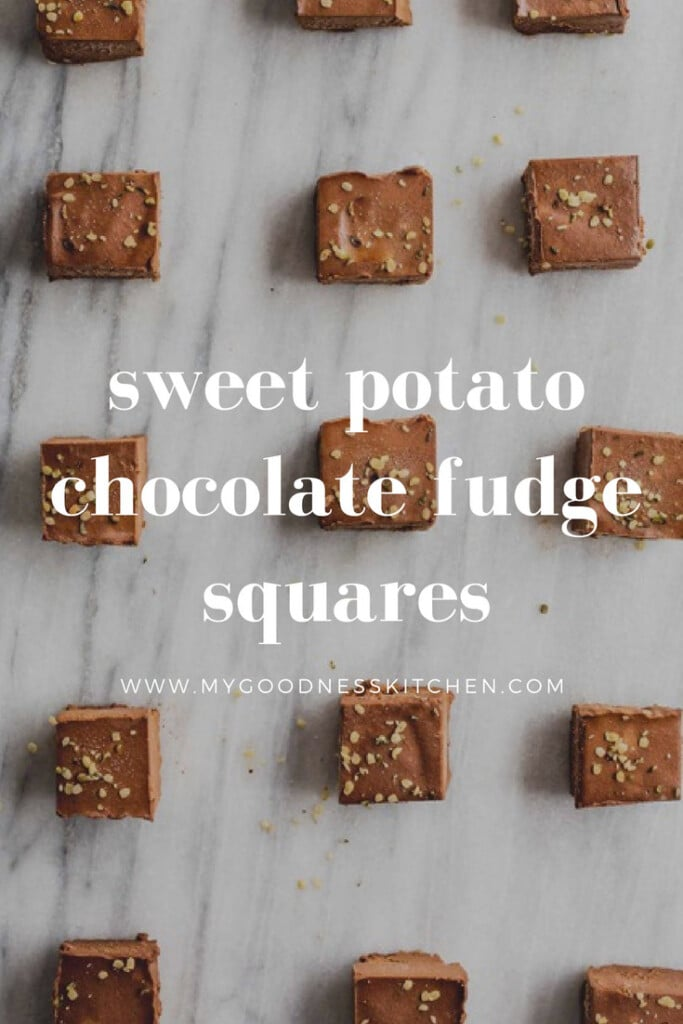 an overhead image of a grid layout of sweet potato chocolate squares on a marble background. Title text overlay in white.