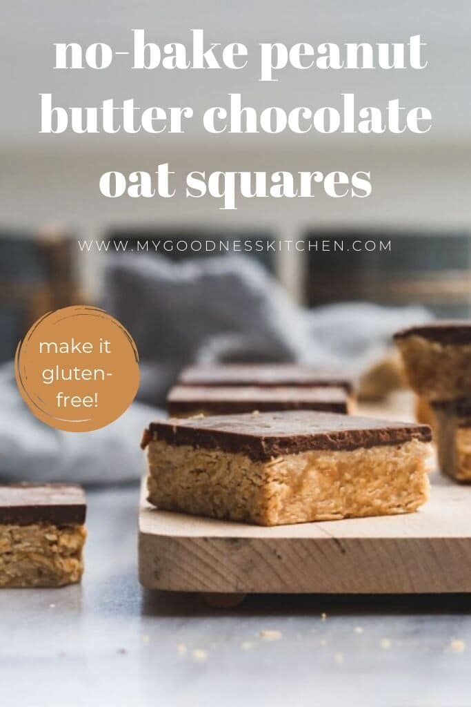Peanut butter oatmeal squares with chocolate on a board with text