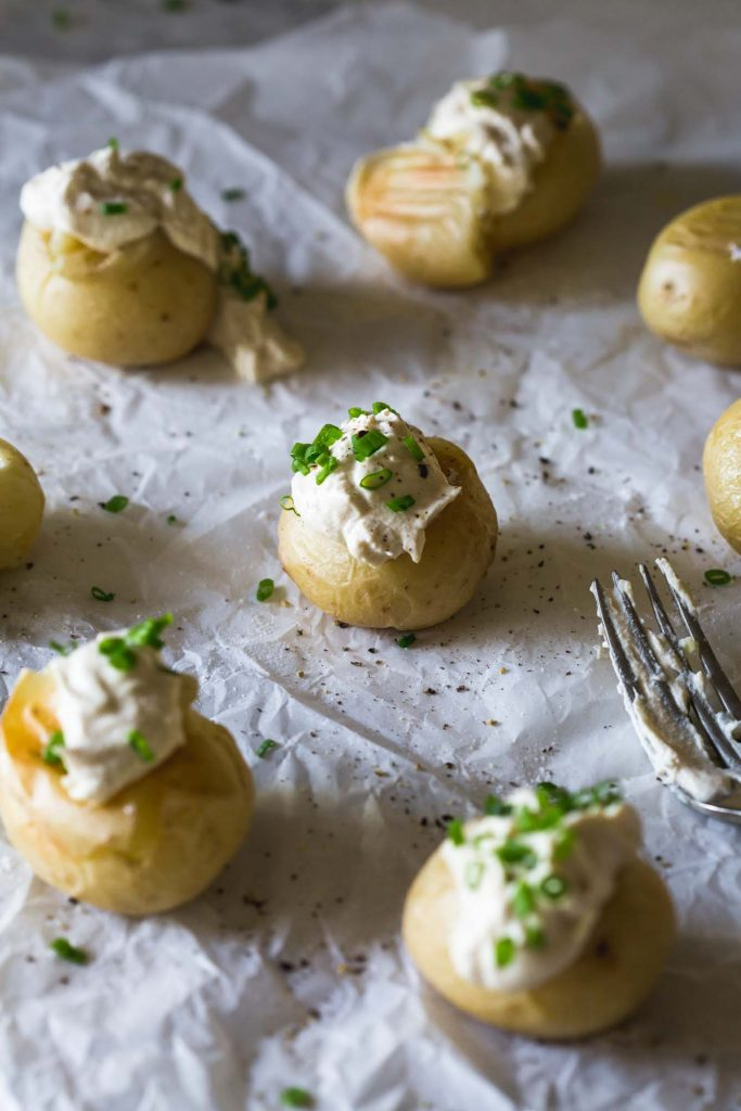 Dairy-Free Cultured Sour Cream on roasted potatoes