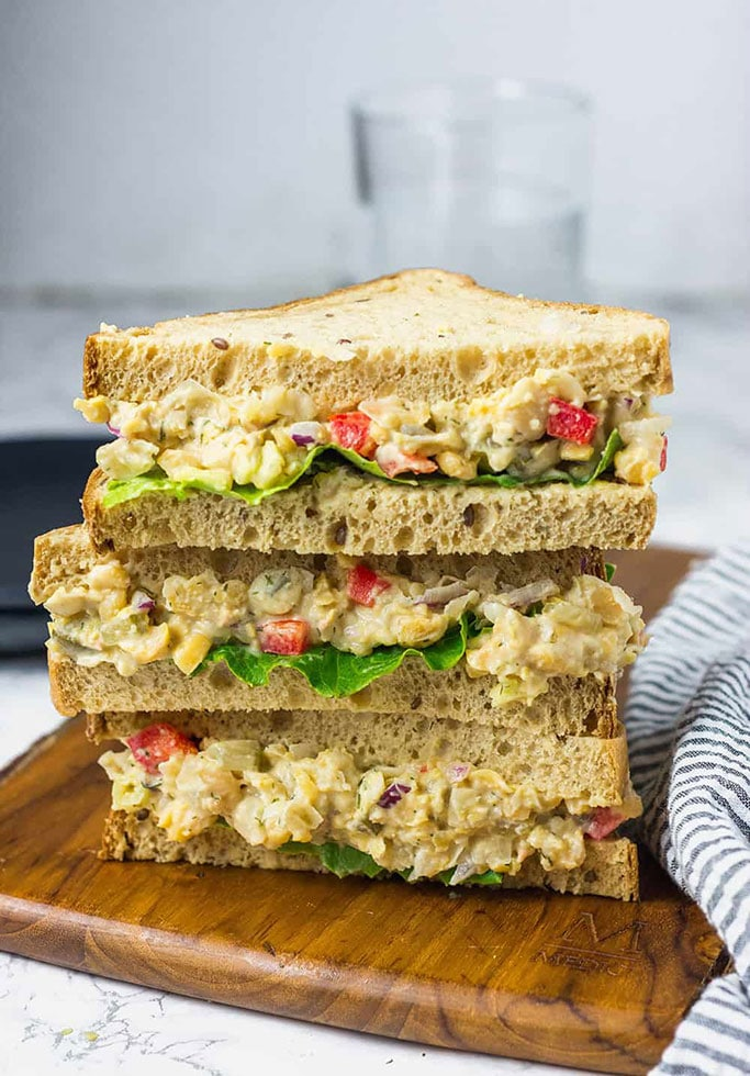 A stack of chickpea sandwiches.
