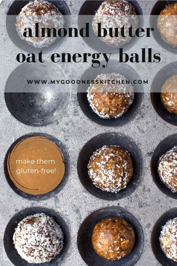 Overhead image of a tray of almond butter snack balls with the title text written in grey.