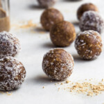 Nut butter snack balls rolled in coconut
