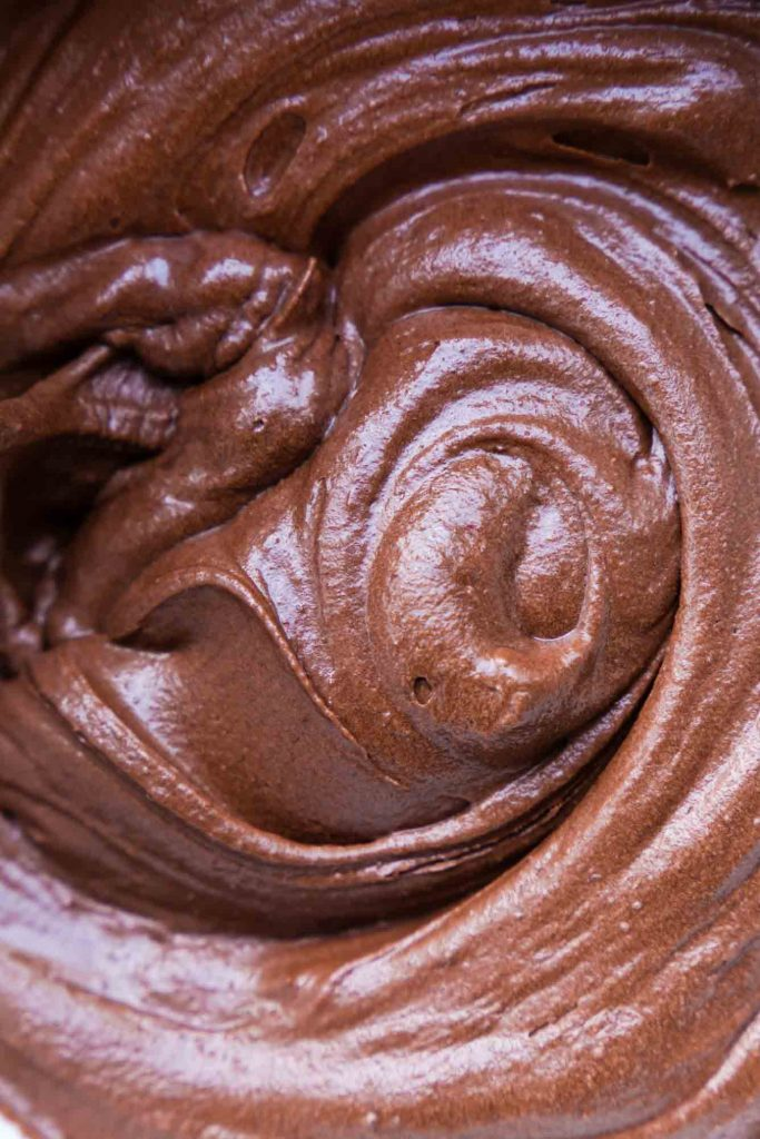 A super close-up image of the vegan chocolate cake batter