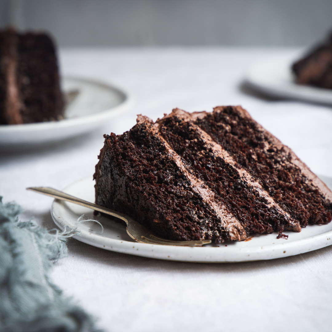 A close up of a piece of chocolate cake on a plate