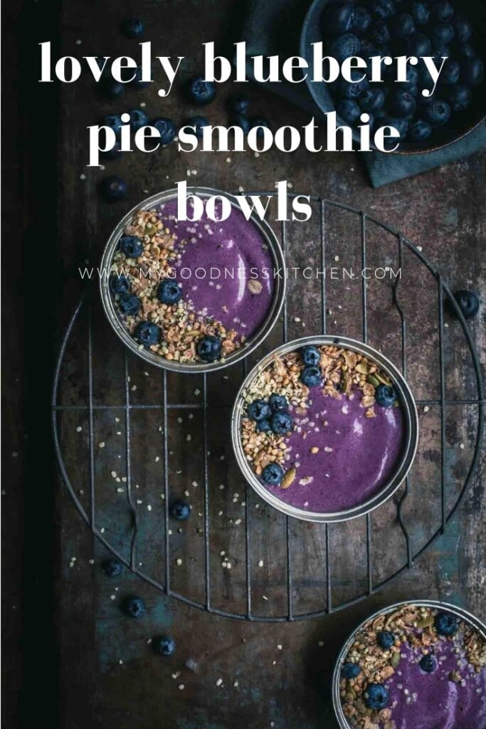 Overhead image of blueberry smoothies in bowls with text