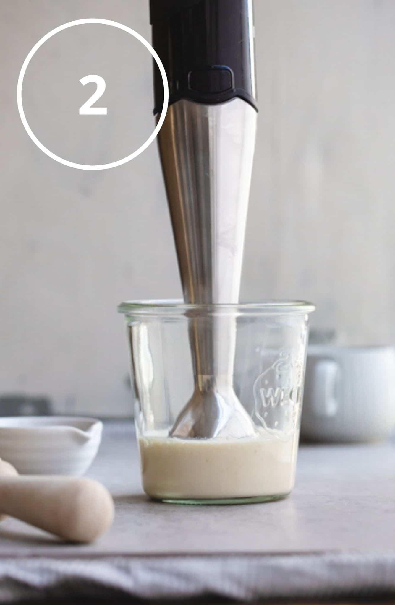 Step 2 - begin vegan mayo blending ingredients