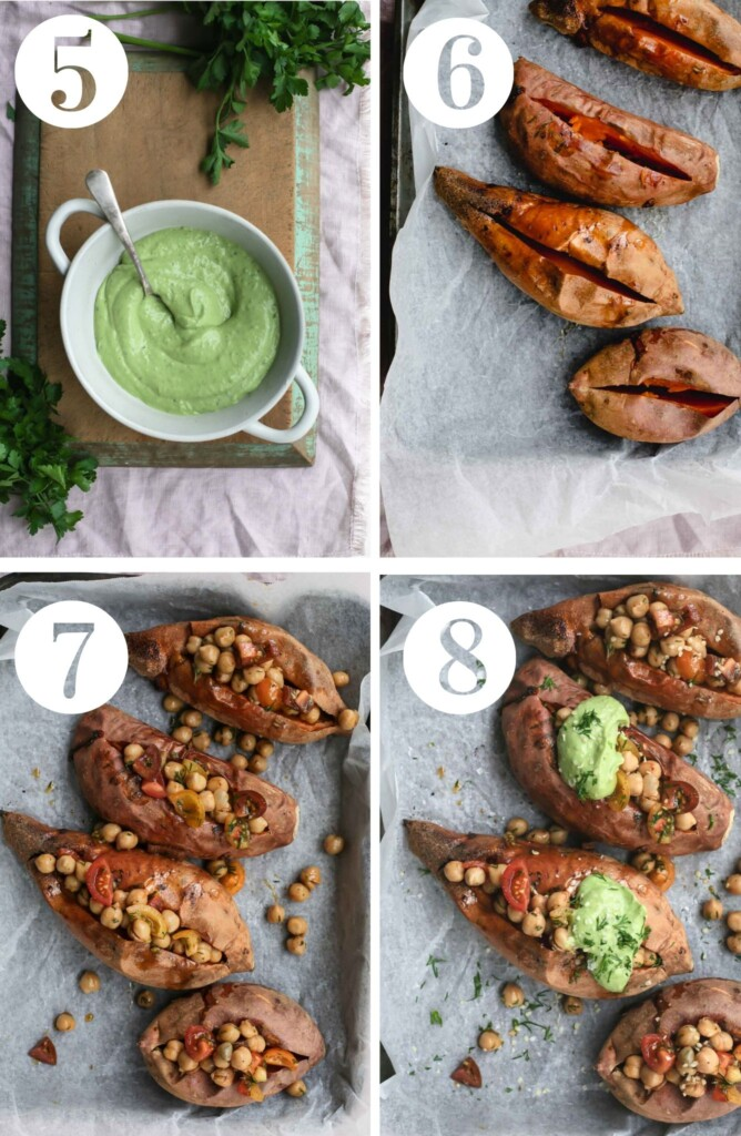 Four images showing steps 5 to 8 of the cooking process including the finished avocado tahini sauce through to the completed dish.
