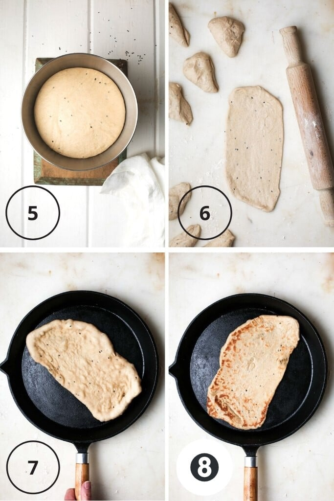 Overhead instructional images showing showing the vegan naan after the dough has been proofed through to cutting, rolling and grilling.