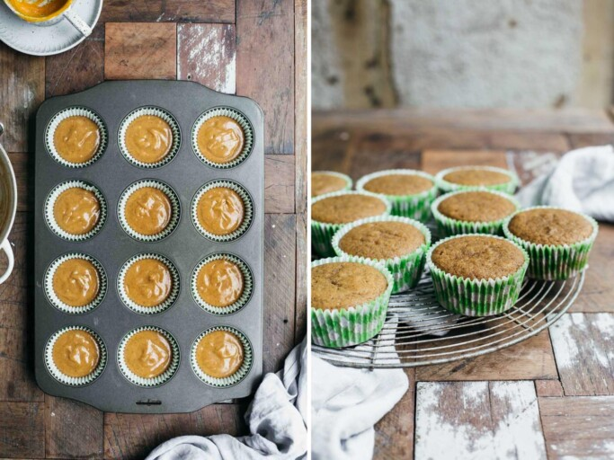 Two side by side images showing the cupcake batter batter before baking and after baking