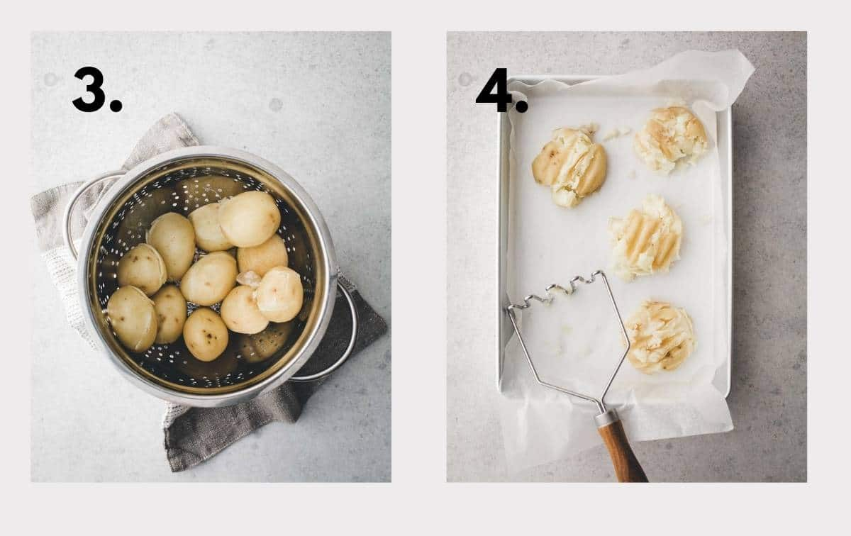 Two images with potatoes in a colander drying and being smashed.