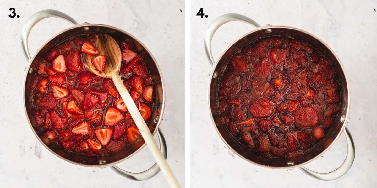 Two images showing jam cooking in a pot at different cooking stages.
