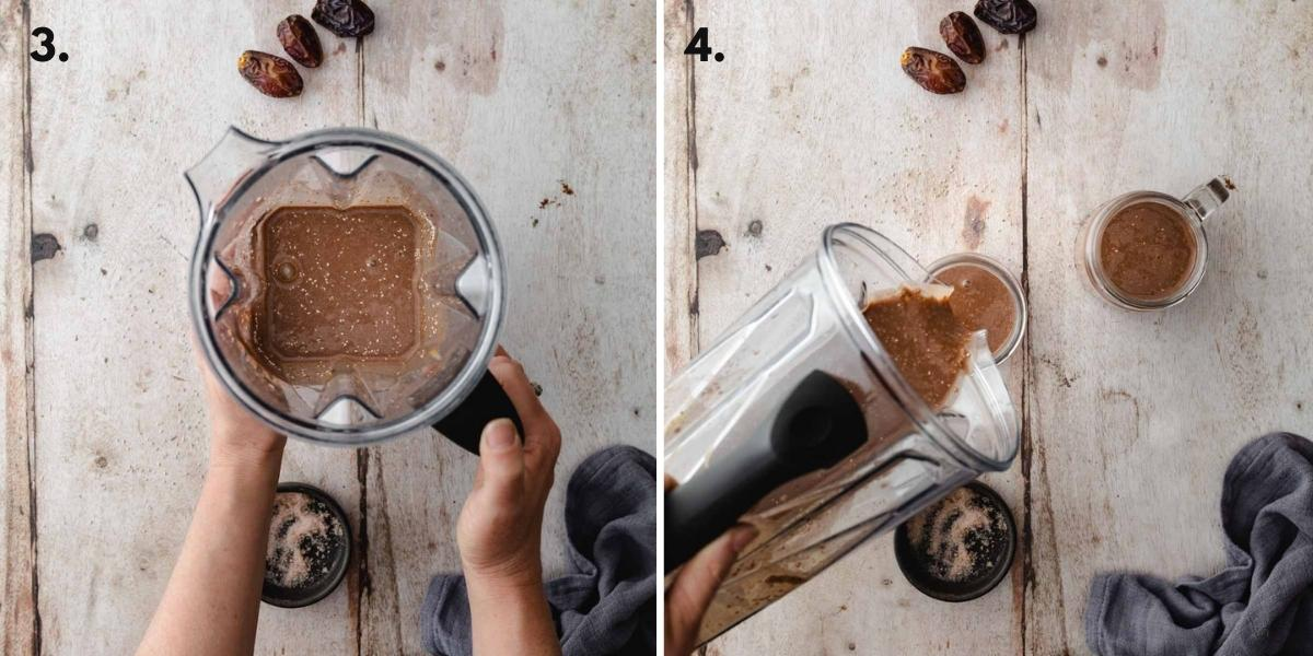Two images of chia pudding in a blender before and after the chia seeds are added.