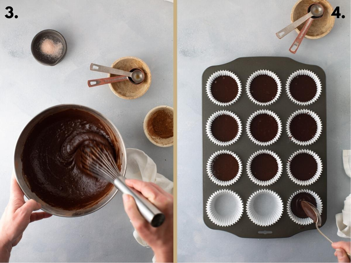 Two food images with chocolate cake batter in a bowl and spooned in to a baking tray.